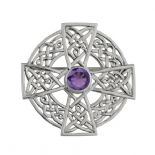Celtic Cross Silver Brooch Large with Amethyst colour stone 0648